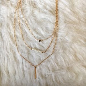 Set Of Three Gold Layering Necklaces